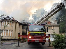 Fire Fighters Tackly Blaze at Leicester Road, Poole